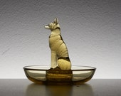 René Lalique, Amber yellow Cendrier Rond, CHIEN dish. Designed in 1926