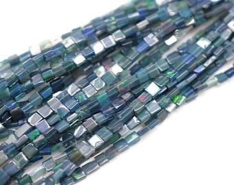 Boulder Opal Faceted Rectangle Beads~~Blue Boulder Opal Faceted Rectangle~~Bio Colour Square Beads~~16mmx12mm-10mmx10mm