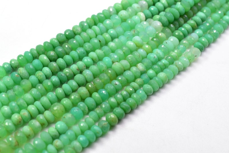 Chrysoprase Rondelle Shape Faceted Beads 5x6.MM Approx 10Inches Natural Top Quality Wholesaler Price.