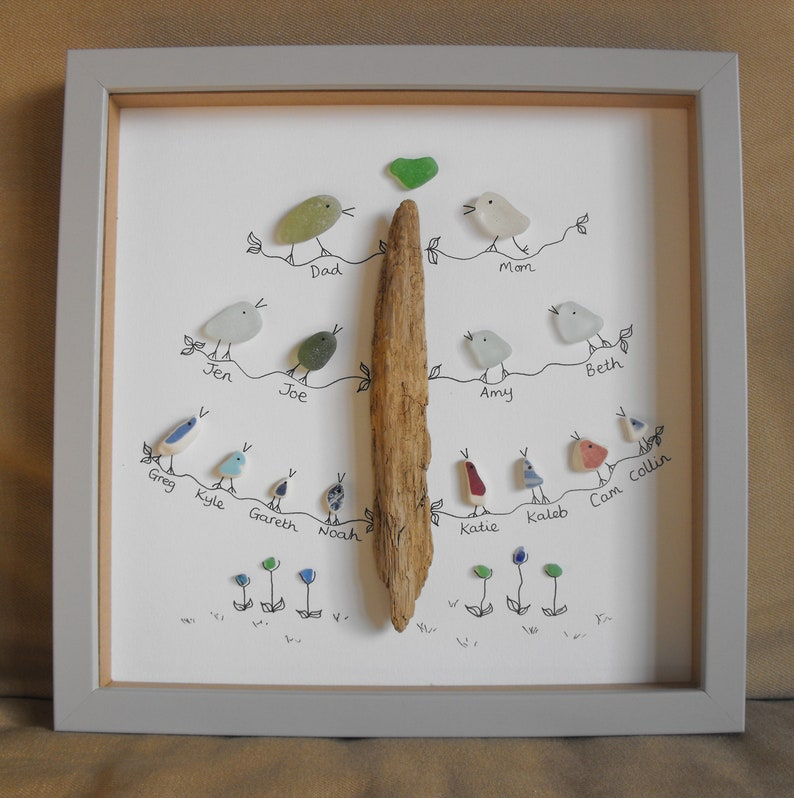Family tree Sea Glass & Sea Pottery personalised wall art  image 0