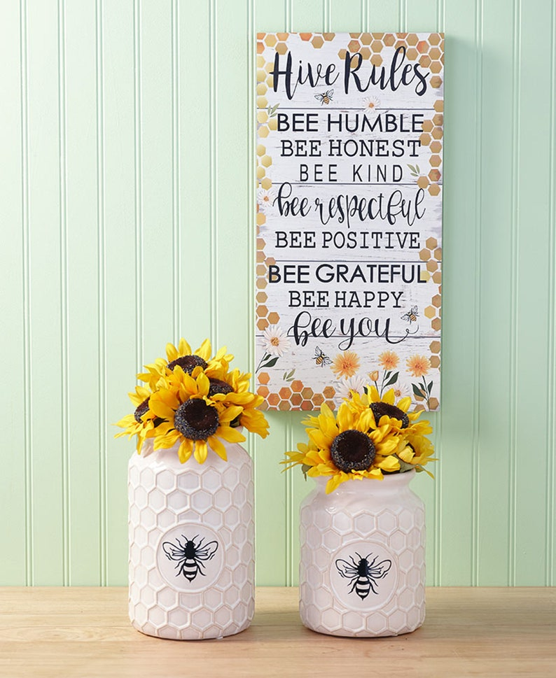 Farmhouse Bee Home Decor Collection White Vase Embellished Set of 3