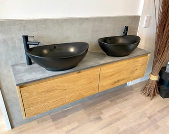 Washbasin cabinet, washbasin 180x37x37 cm, wild oak and concrete