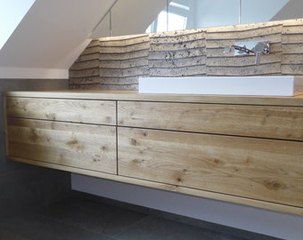Washbasin made of solid oak with four drawers (push-to-open), bathroom furniture made to measure