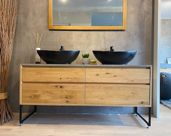 Washbasin made of solid oak with top made of micro concrete and four drawers, bathroom furniture made to measure