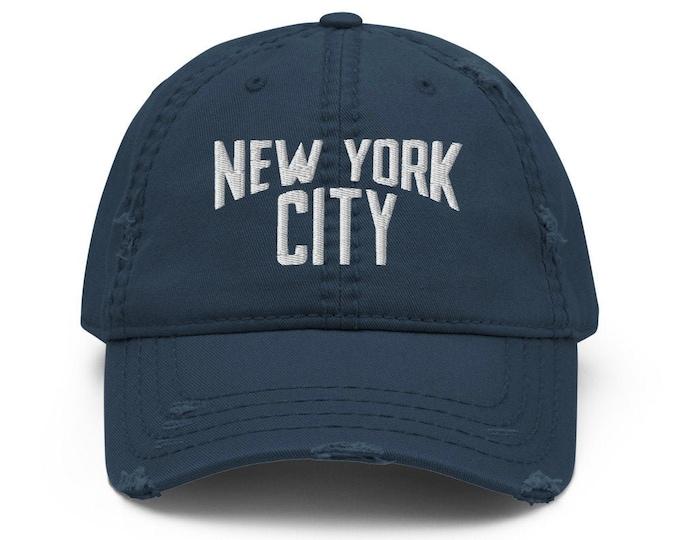 New York City Trucker Hat / Baseball Cap - Embroidered 6-Panel Otto Cap - Black Hat & Visor