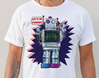 Let's Be Friends Men's/Unisex Robot Graphic T Shirt   Super Soft Men's Tee