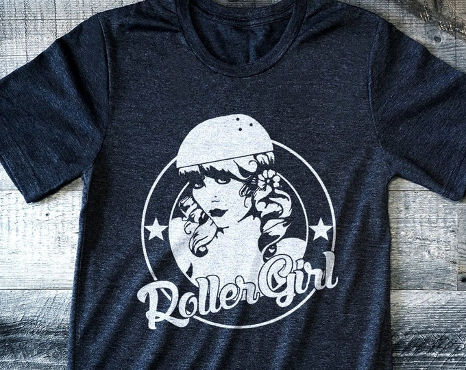 Roller Girl 'Vintage Print' Poly-Cotton Men's/Unisex Charcoal Heather Graphic T Shirt