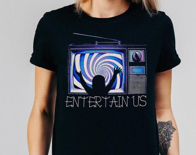 Entertain Us Women's Black Graphic TV T Shirt - Fashion Fit 90's TV Tee