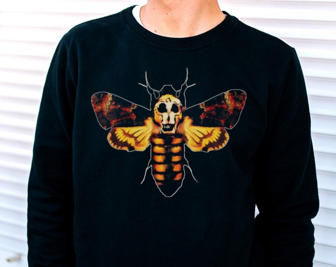 Death's Head Hawkmoth Men's/Unisex Black Fleece / Cotton Pullover Sweatshirt