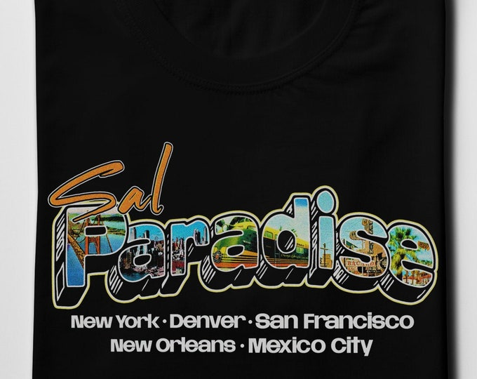 Sal Paradise Men's/Unisex Black Graphic T Shirt - Super Soft Beatnik Tee