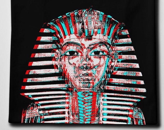 Tutankhamun Men's/Unisex Black Graphic T Shirt - Super Soft Egyptian Pop Art Tee