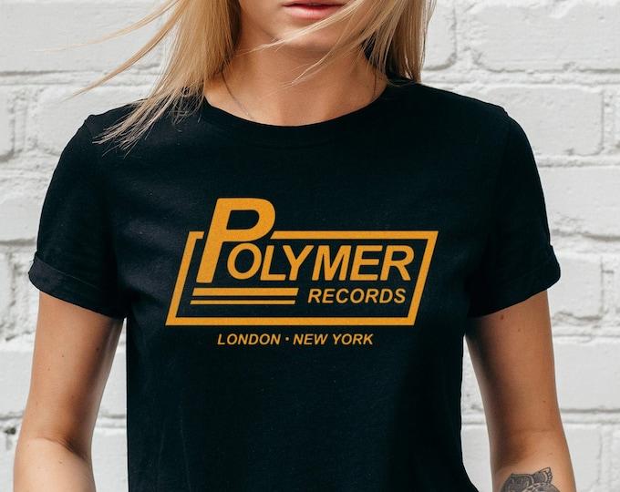 Polymer Records Women's Black Rocker Graphic T Shirt