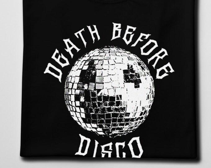 Death Before Disco Men's/Unisex Black Graphic T Shirt | Super Soft Men's Rocker Tee