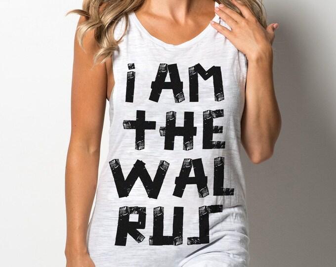 I Am The Walrus 'Vintage Print' Unisex Heather White Tri Blend Tank Top For Men & Women