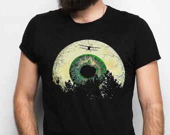 Luna Vista Men's/Unisex Surreal Black Graphic T Shirt - Super Soft Science Fiction/Moon Tee