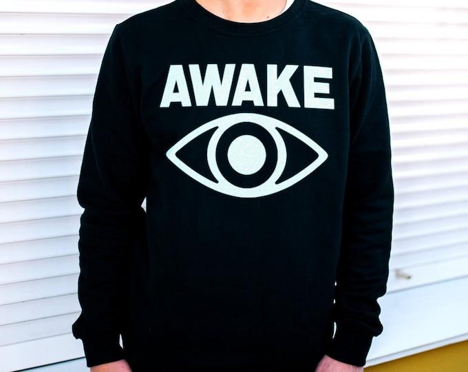 Awake Men's/Unisex Black Fleece / Cotton Pullover Sweatshirt