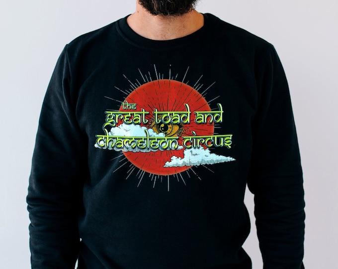 The Great Toad and Chameleon Circus Men's/Unisex Black Fleece / Cotton Pullover Sweatshirt