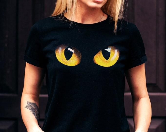 Cat's Eyes Women's Black Graphic T Shirt