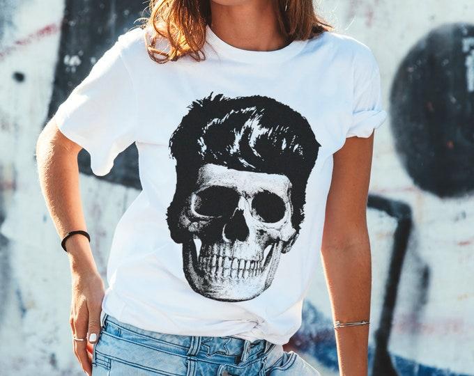 Rockabilly Skull Men's/Unisex Classic Fit Graphic T Shirt - Super Soft Skull Tee