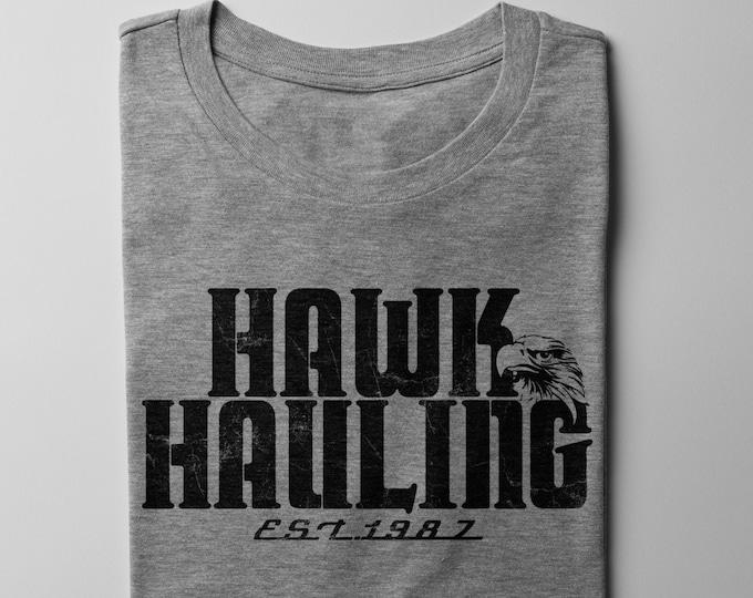 Hawk Hauling Men's/Unisex Gray Trucker T Shirt   Super Soft Men's Tee
