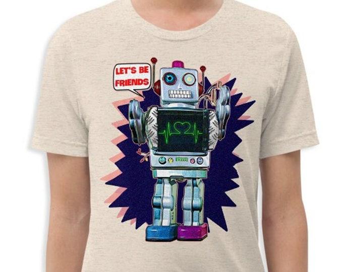 Let's Be Friends Robot Vintage Style Graphic T Shirt - Unisex Tri-Blend T-Shirt | Bella + Canvas |