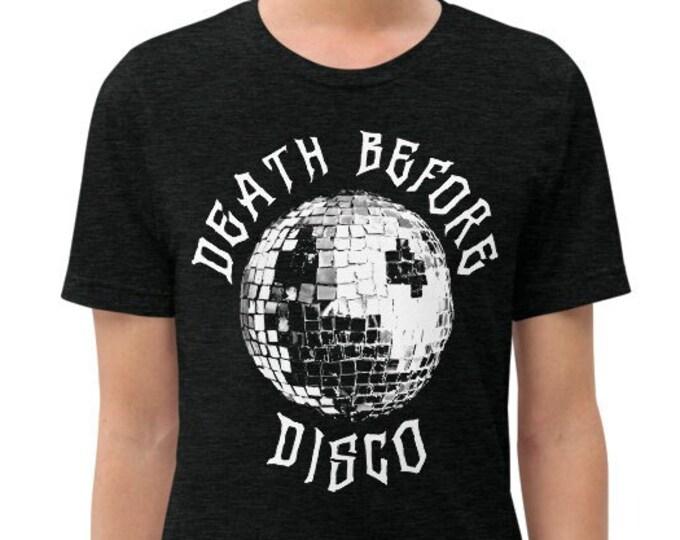 Death Before Disco Charcoal-Black Vintage Style Graphic T Shirt - Unisex Tri-Blend T-Shirt | Bella + Canvas |