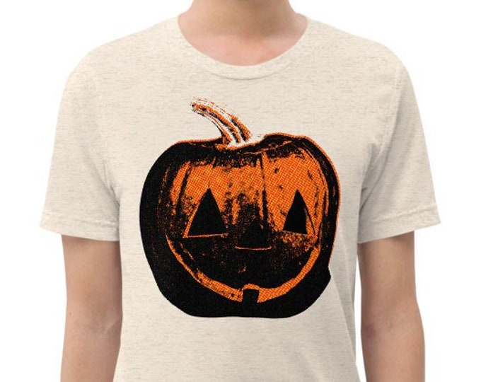 Jack O Lantern Vintage Style Graphic T Shirt - Unisex Tri-Blend Halloween Pumpkin T-Shirt | Bella + Canvas |