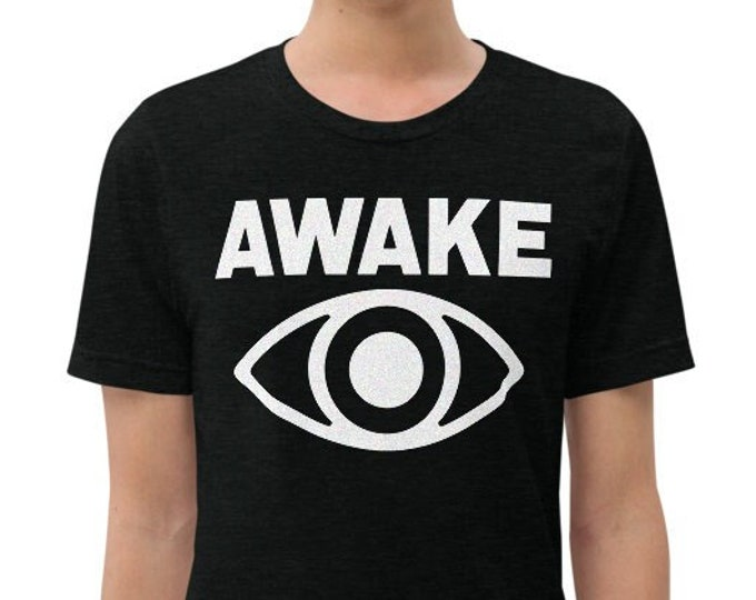 Awake Vintage Style Solid Black Graphic T Shirt - Unisex Tri-Blend T-Shirt | Bella + Canvas |