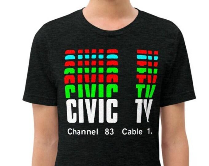 Civic TV Charcoal-Black Vintage Style Graphic T Shirt - Unisex Tri-Blend T-Shirt | Bella + Canvas