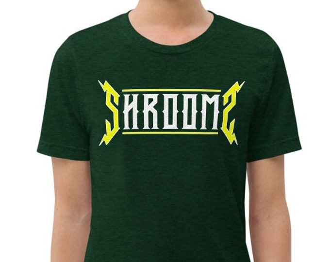 Shrooms Green Vintage Style Graphic T Shirt - Unisex Tri-Blend T-Shirt | Bella + Canvas | Psychedelic Mushrooms Tee