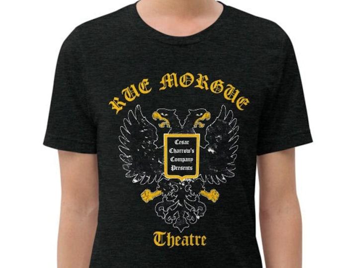 Rue Morgue Theatre Charcoal-Black Vintage Style Graphic T Shirt - Unisex Tri-Blend T-Shirt | Bella + Canvas |