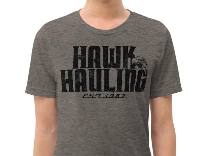 Hawk Hauling Gray Vintage Style Graphic T Shirt - Unisex Tri-Blend Trucker T-Shirt | Bella + Canvas |