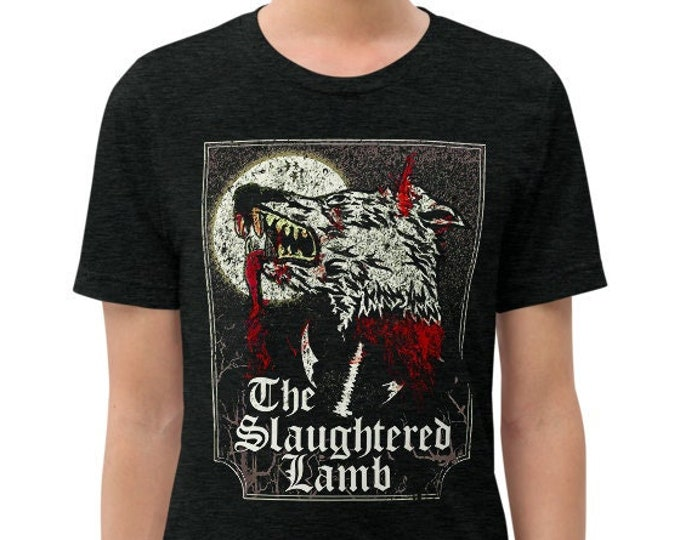 The Slaughtered Lamb Charcoal-Black Vintage Style Graphic T Shirt - Unisex Tri-Blend T-Shirt | Bella + Canvas |