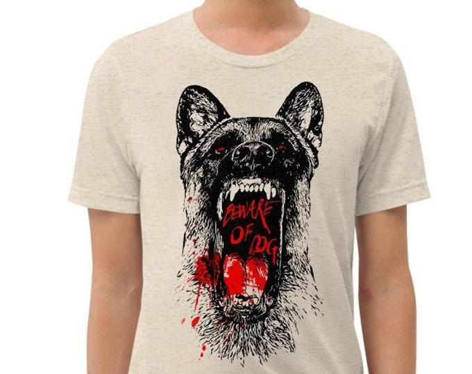 Beware of Dog Vintage Style Graphic T Shirt - Unisex Tri-Blend T-Shirt | Bella + Canvas |