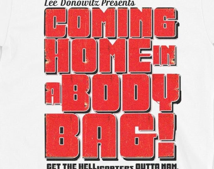 Coming home in a body bag! Men's/Unisex White Graphic T Shirt - Faux Cult Film Tee