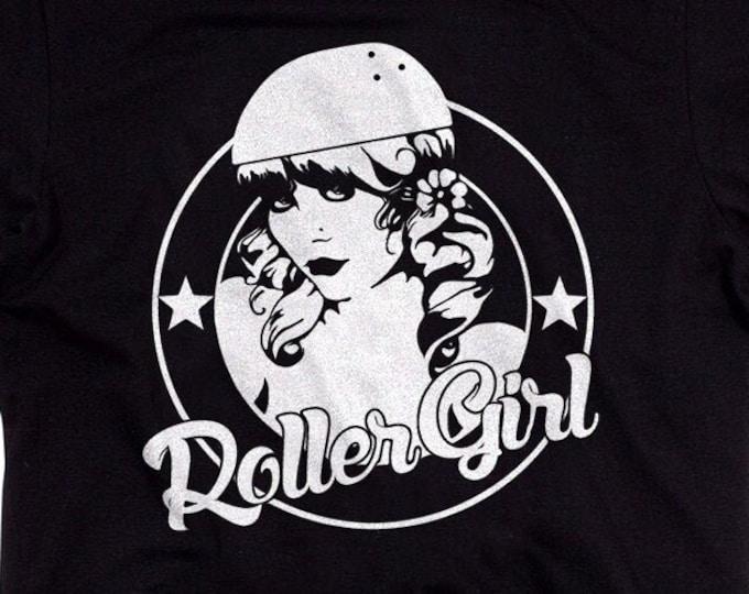 Roller Girl Men's/Unisex Black Graphic T Shirt - Super Soft Roller Derby Tee