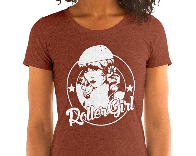 Women's Roller Girl Vintage Style Graphic T Shirt - Tri-Blend T-Shirt | Bella + Canvas |