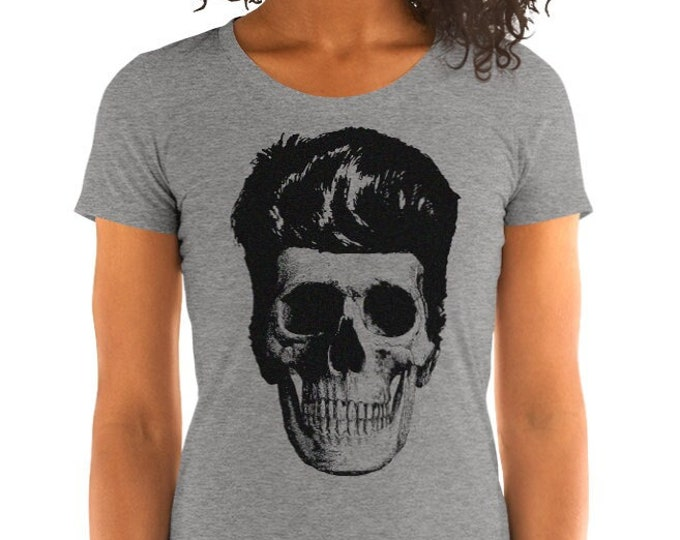 Rockabilly Skull Vintage Style Graphic T Shirt - Tri-Blend T-Shirt   Bella + Canvas  