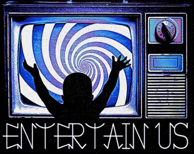 Entertain Us Men's/Unisex Black TV Graphic T Shirt - Super Soft Television Tee