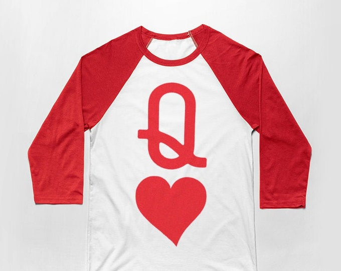 Queen of Hearts 3/4 Sleeve Unisex Baseball Graphic T Shirt