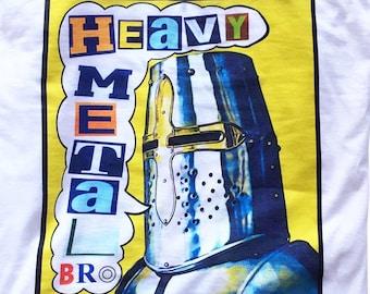 Heavy Metal Bro Men's/Unisex White Graphic T Shirt   Super Soft Comic Book Tee