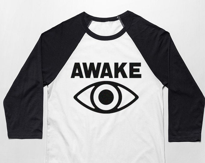 Awake 3/4 Sleeve Unisex Baseball Graphic T Shirt