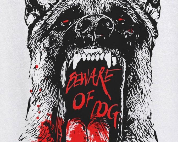 Beware of Dog Men's/Unisex White Graphic T Shirt