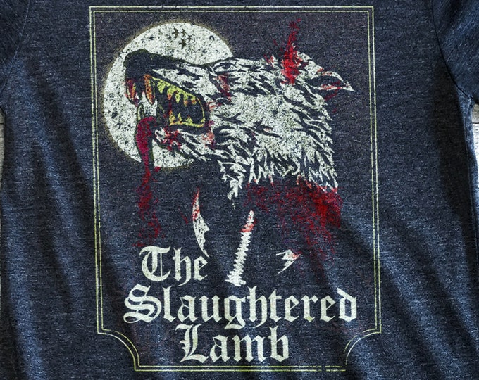 Slaughtered Lamb Vintage Print Poly-Cotton Men's/Unisex Charcoal Heather Graphic T Shirt