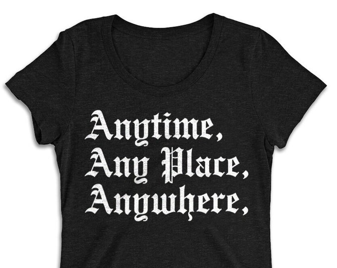 Women's Anytime, Any Place, Anywhere Charcoal Vintage Style Graphic T Shirt - Tri-Blend T-Shirt | Bella + Canvas |