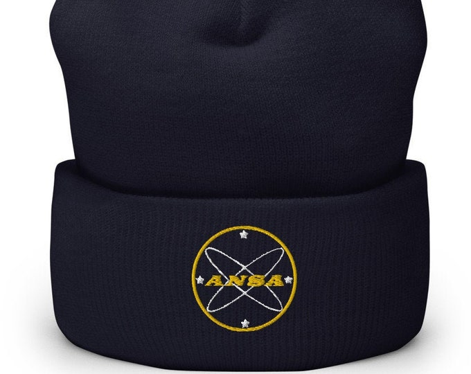 ANSA Spaceship Navy Cuffed Beanie - Embroidered Design - Winter Headwear For Men & Women