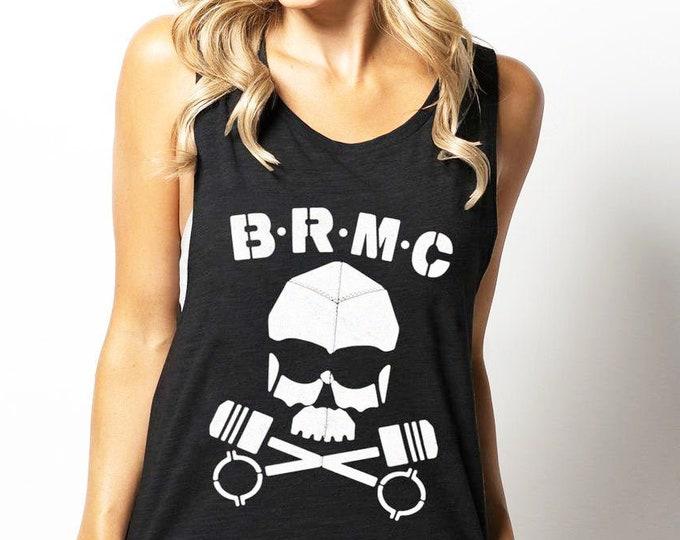 BRMC Skull (The Wild one) 'Vintage Print' Unisex Charcoal Heather Tri Blend Tank Top For Men & Women