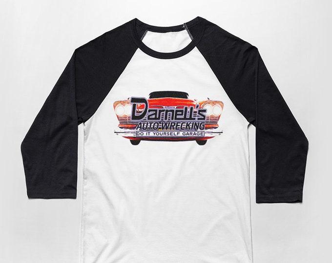 Darnell's Auto Wrecking 3/4 Sleeve Unisex Baseball Graphic T Shirt