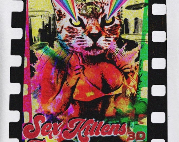Sex Kittens From Outer Space Graphic T Shirt - Faux Exploitation Cult Movie T Shirt