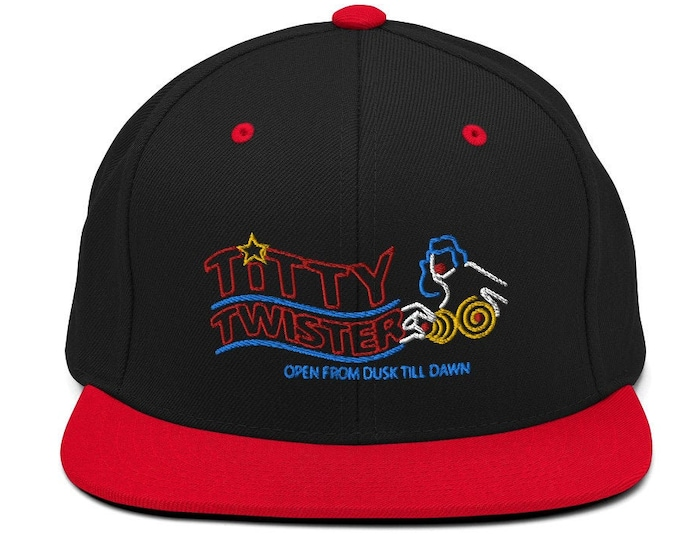 Titty Twister Classic Flat Bill Snapback Cap - Embroidered 6-Panel Structured Baseball Hat - Black Hat/Red Visor